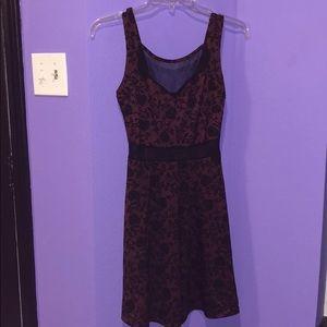 Burgundy & black floral dress